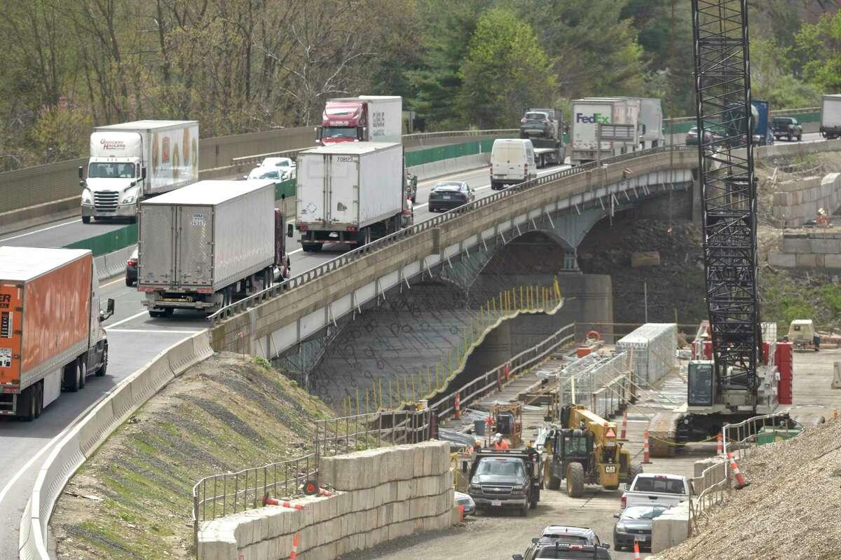 Reconstruction of Rochambeau Bridge on Interstate-84 in Southbury in April.