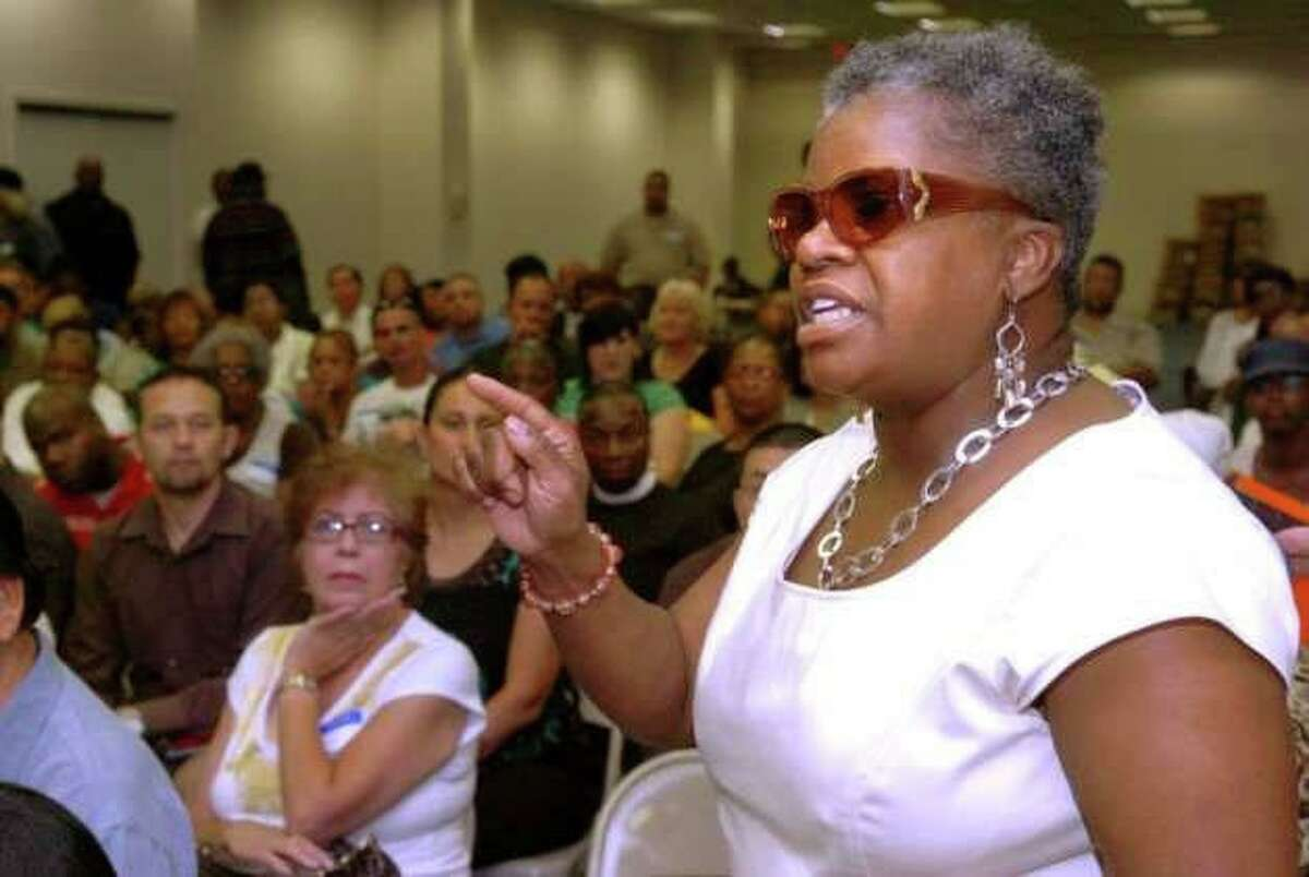 Current state Sen. Marilyn Moore at a community meeting protesting gun violence in Bridgeport 11 years ago.