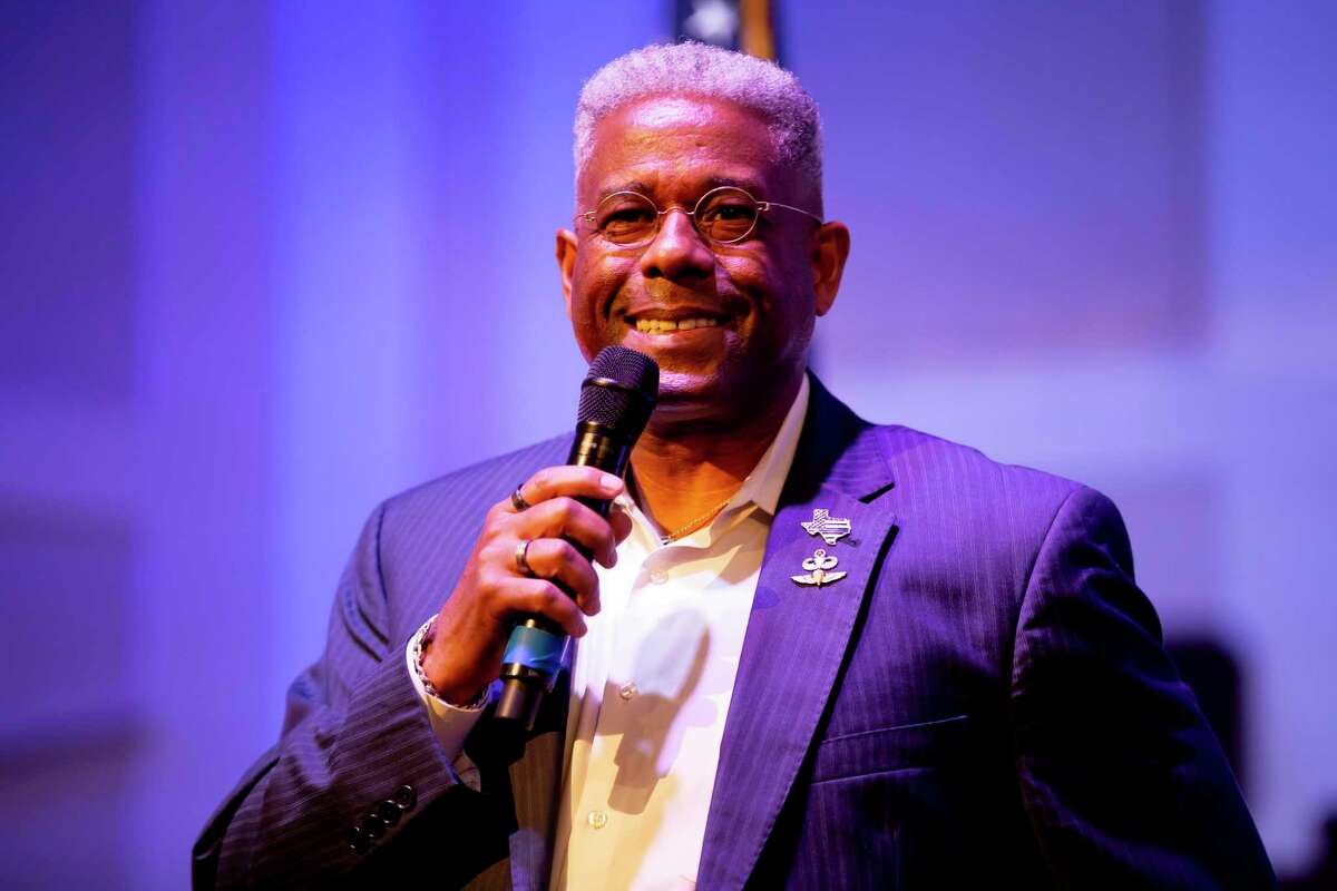 Texas GOP chairman Allen West speaks during the Defend The Police rally at West Baptist Conroe Church, Saturday, Oct. 10, 2020.