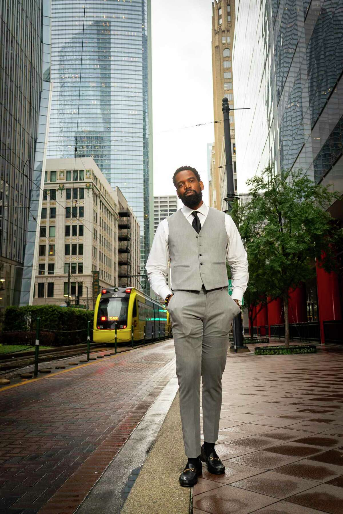 David Funchess, photographed outside his workspace in downtown Houston on Thursday, June 3, 2021, said that going out to clubs and pool parties on the Memorial Day weekend felt like a return to normal in many ways.