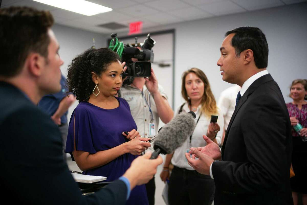 U.S. Rep. Joaquin Castro, seen at a 2019 news conference, has been meeting with media executives to advocate for greater Latino representation. It would strengthen reporting.