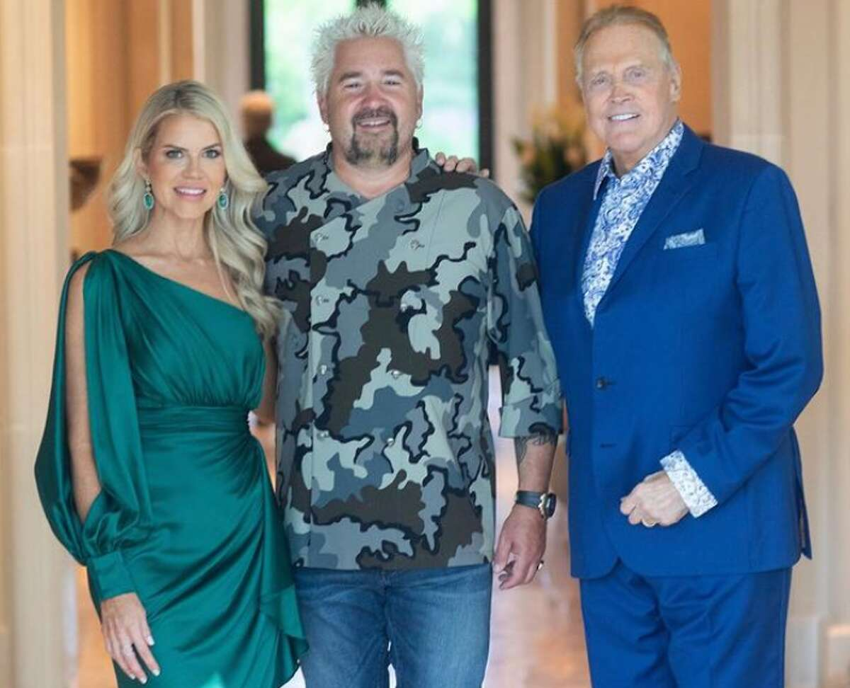 Faith Majors, Guy Fieri and Lee Majors at Lee's birthday celebration. (Photo credit to Michelle Simmons Welling & Shawn Welling via Faith Majors' Instagram)