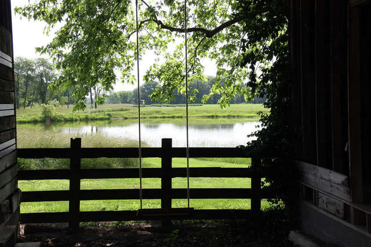 Besides a future home for ducks, the granary can be quite picturesque, especially with the swing in the foreground and the pond in the distance.