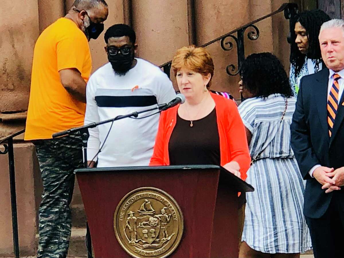 Albany Mayor Kathy Sheehan speaks Friday, June 4, 2021 during a press conference on gun violence in the city.