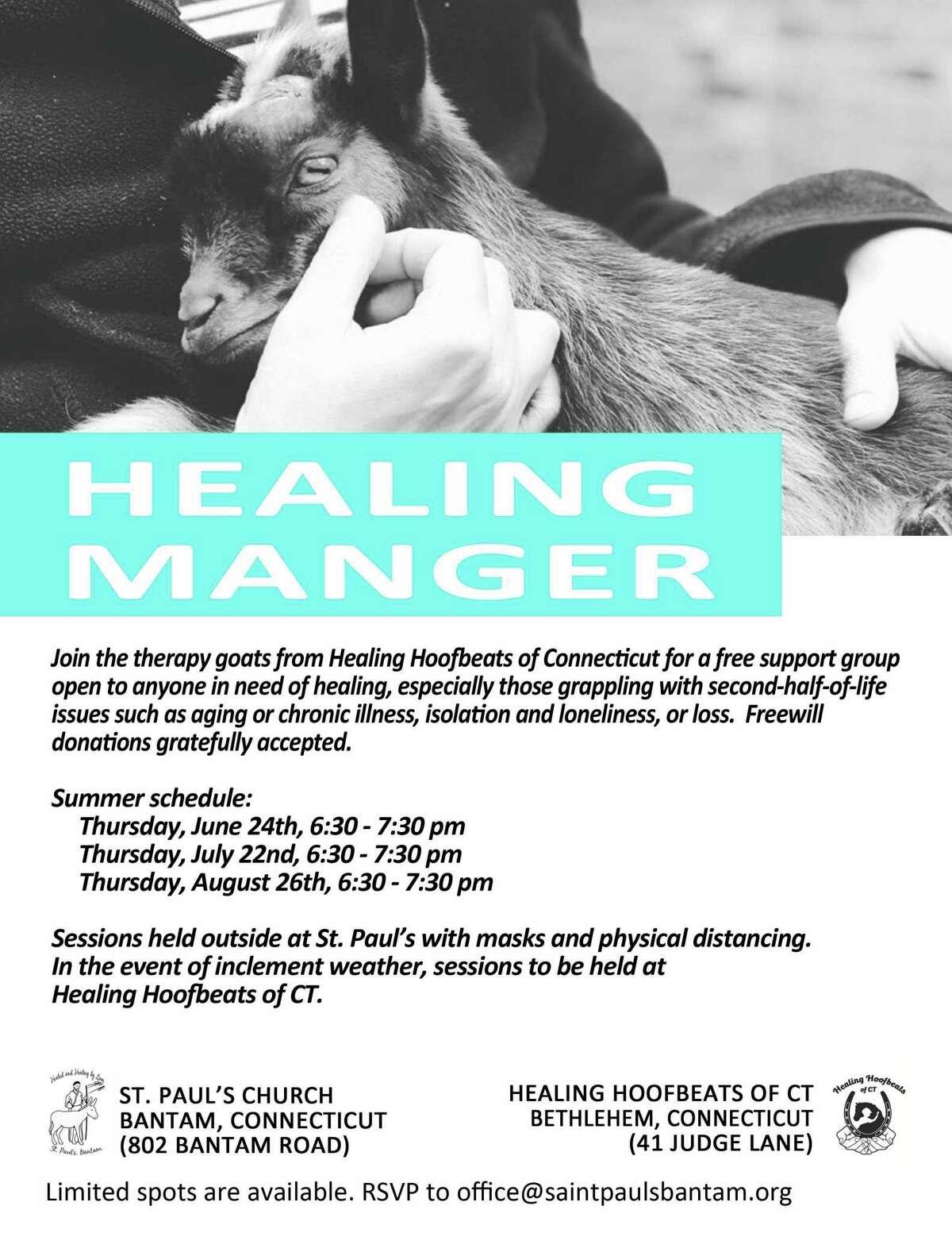 Healing Hoofbeat goats will visit St. Paul's Church in Bantam this summer.