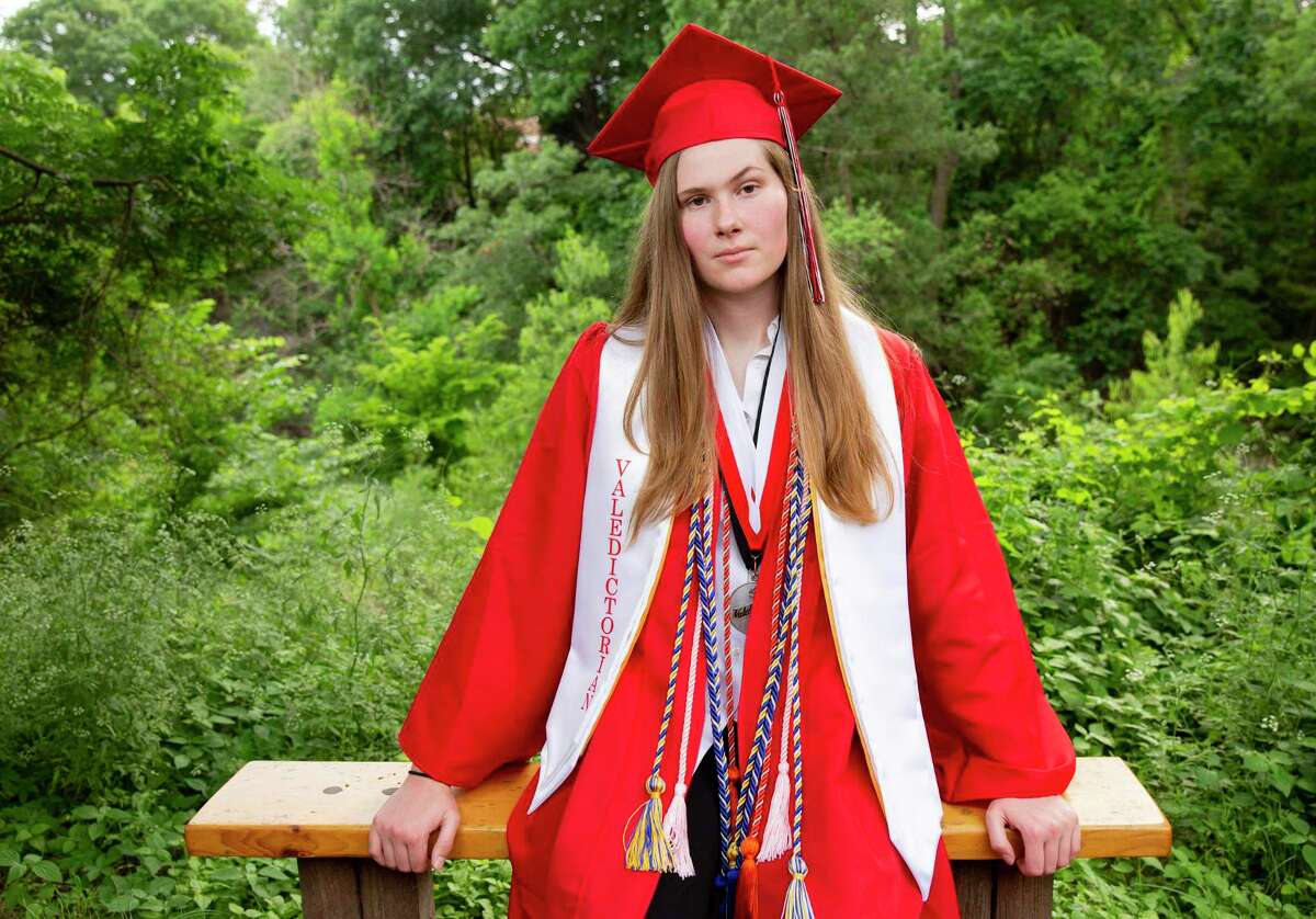 Paxton Smith, Lake Highlands High School valedictorian, poses for a photo on Wednesday, June 2, 2021, in Dallas, Texas. (Juan Figueroa/The Dallas Morning News/TNS)