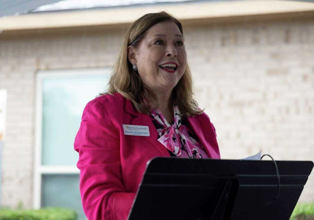 Marilyn Kasmiersky, executive director of Family Promise speaks during a renovation kickoff event, Thursday, May 3, 2021, in Conroe. The new facility will be an estimated 6,000-square-feet and renovations will begin mid-June.