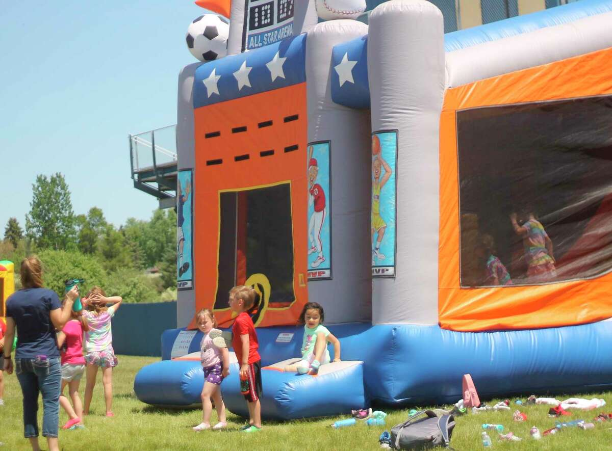 The Manistee ATP supplied bounce houses for Jefferson students to use during field day events this week. (Kyle Kotecki/News Advocate)