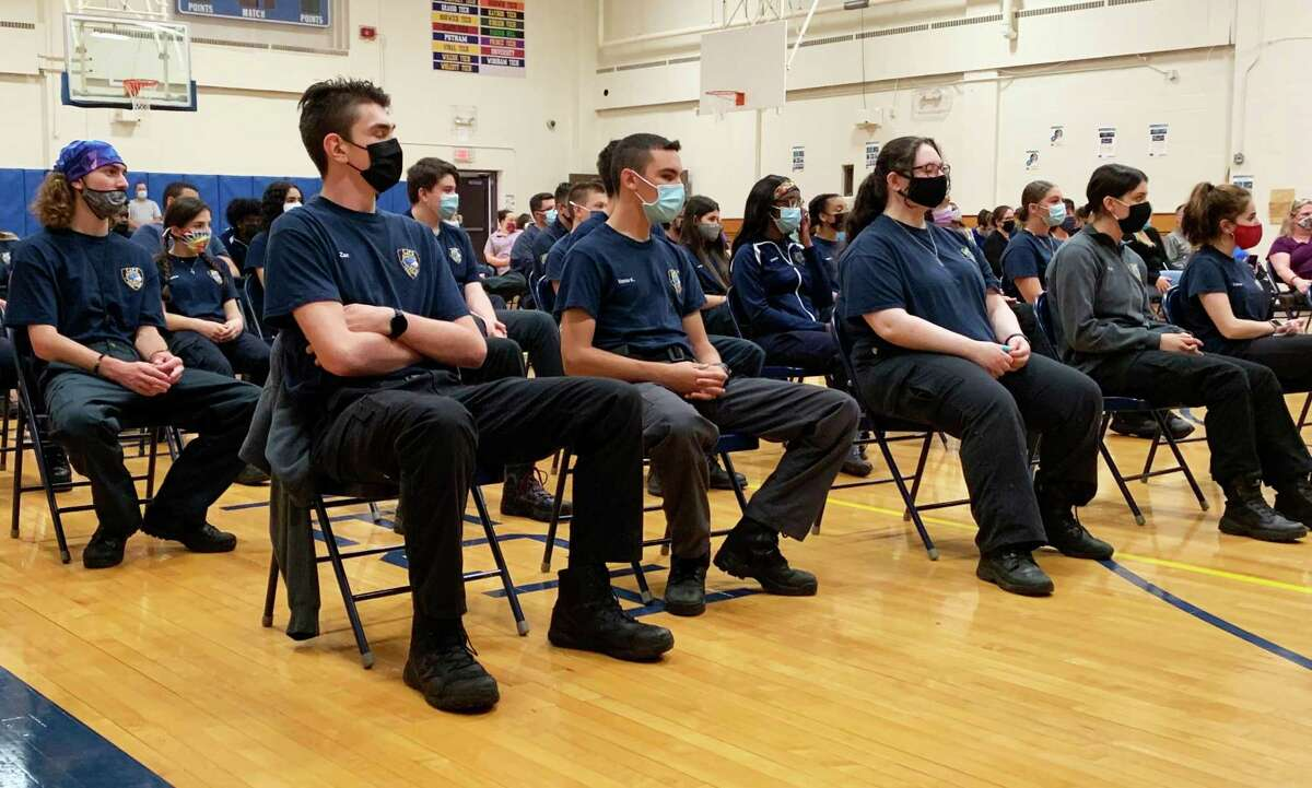 Vinal Technical High School students enrolled in the Criminal Justice and Protective Services program received state and federal recognition for their work during the COVID-19 pandemic in a ceremony Friday in Middletown.