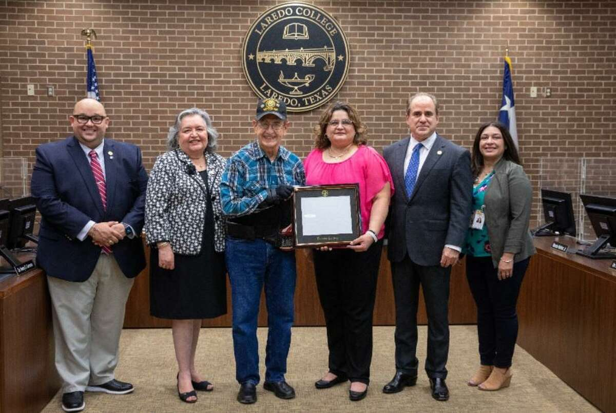 U.S. Army Veteran Henry De Silva was recently recognized by Laredo College. Pictured are LC Senior Director of External Affairs Michael Gonzalez, Board of Trustees President Lupita Zepeda, De Silva, Board Secretary Jackie Leven-Ramos, President Dr. Ricardo J. Solis and Library Director Cynthia Rodriguez.