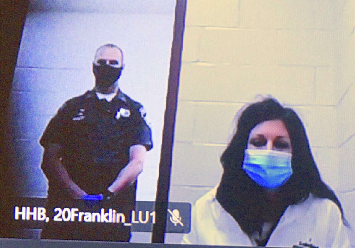 Stephanie Fonda appears in Superior Court in New Britain via video Wednesday.