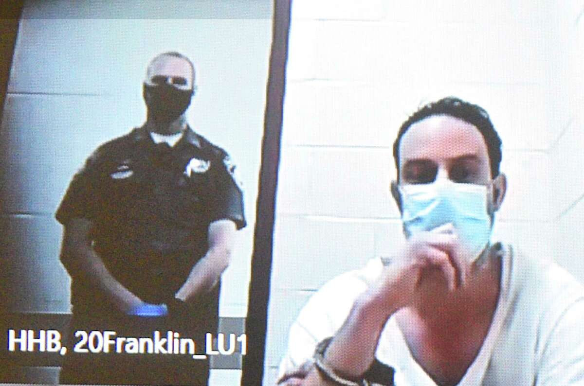 David Fonda appears in Superior Court in New Britain, via video, Wednesday.