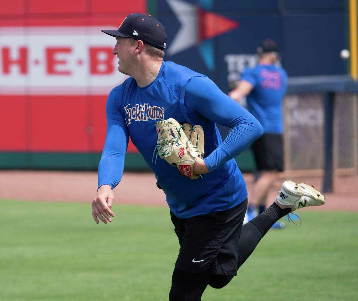 RockHounds relief pitcher Zach Jackson warms up 06/04/2021 at Momentum Bank Ballpark. Tim Fischer/Reporter-Telegram