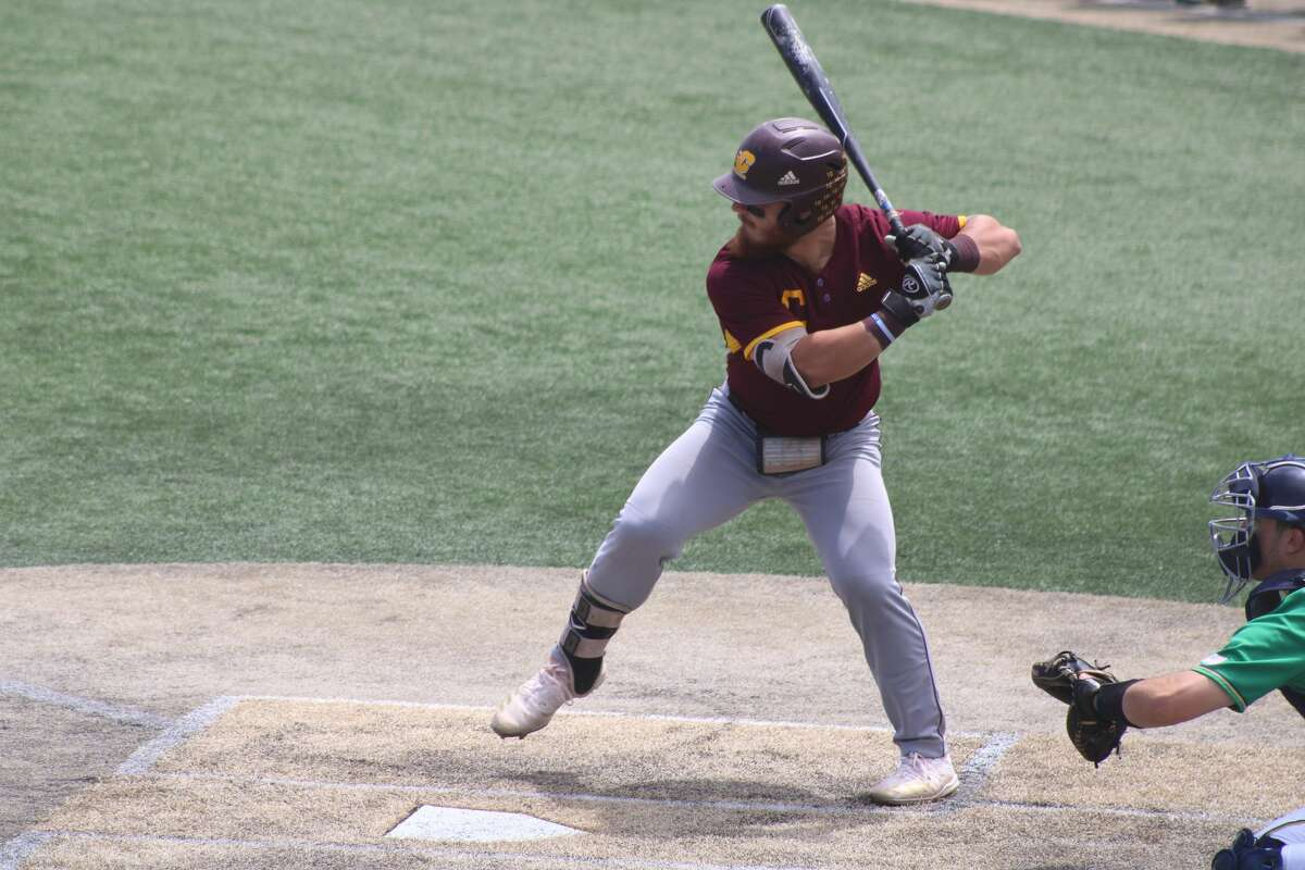 CMU second baseman Mario Camilletti readies to swing during the South Bend Regional opener against Notre Dame on June 4 at Frank Eck Stadium.