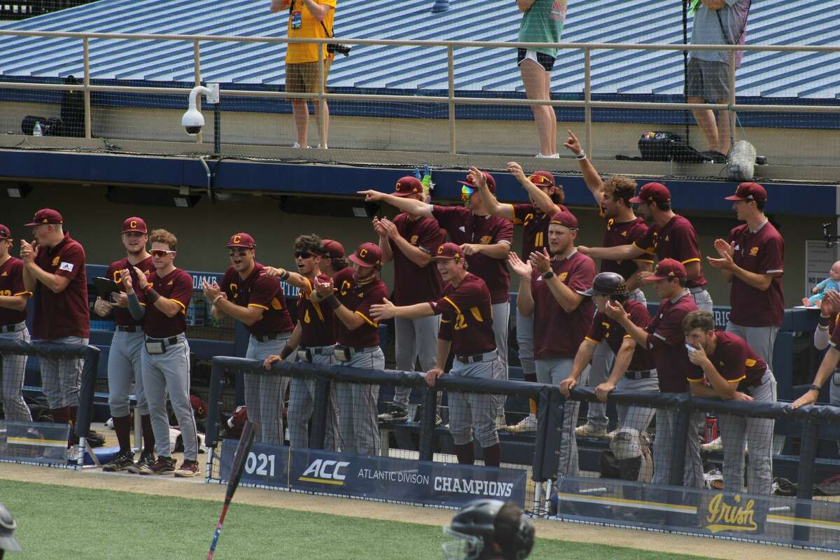 CMU's baseball team celebrates a walk from shortstop Justin Simpson during the South Bend Regional opener against Notre Dame on June 4 at Frank Eck Stadium.