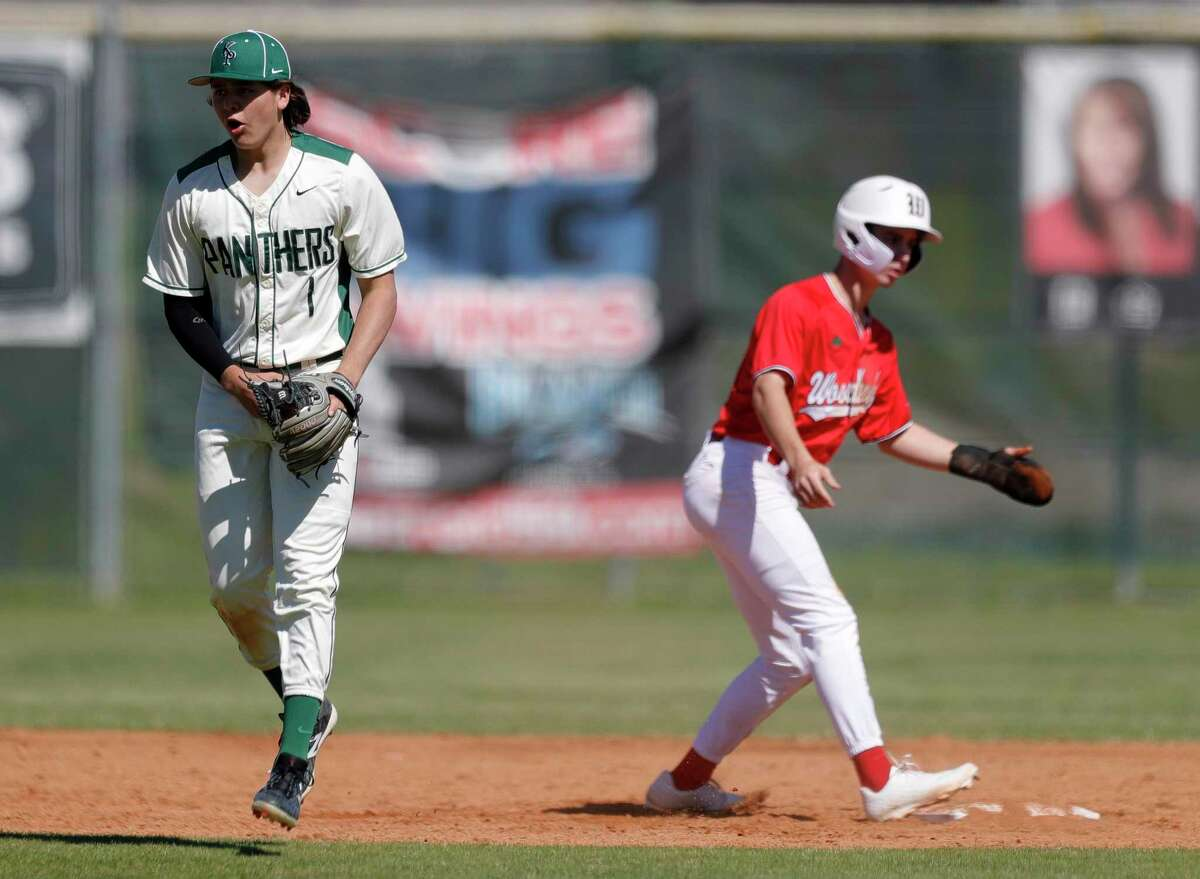 Kingwood Park shortstop Matt King reacts after turning a double play during a non-district high school baseball game at Kingwood Park High School, Thursday, Feb. 27, 2020, in Kingwood. The Woodlands defeated Kingwood Park 10-0.