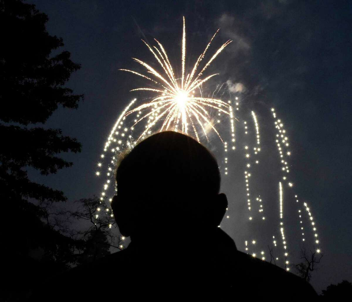 A colorful array of fireworks are displayed at Binney Park in Old Greenwich, Conn. Saturday, July 7, 2018. After a year of cancellations due to the pandemic, the fireworks shows will be back with ones scheduled for July 3 and July 5.