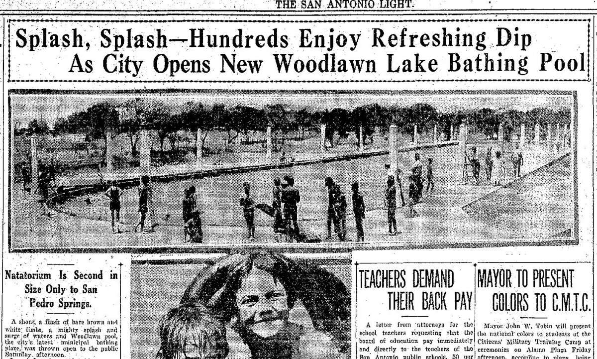 A July 26, 1925 edition of the San Antonio Light featuring the opening of the new public swimming pool at Woodlawn Lake. The pool remains open to this day and is the second-largest municipal pool in San Antonio.