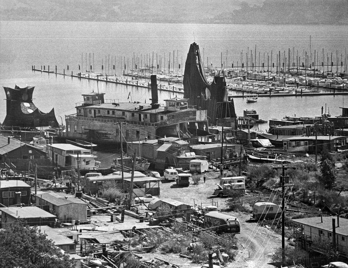 A view of part of the houseboat community in Sausalito, Calif., in the late 1960s.