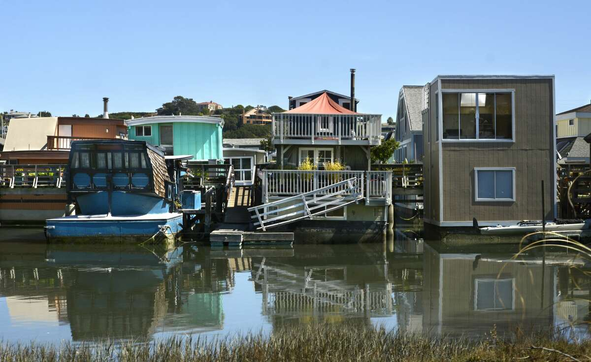 A few of the residential houseboats in Sausalito, Calif.
