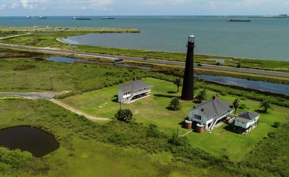 An aerial photo of the Bolivar Lighthouse on Tuesday. Photo taken on Tuesday, 8/6/19. Ryan Welch/The Enterprise