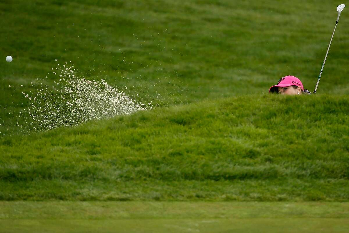 Paula Creamer hits out of the bunker on the second hole of the Lake Course during the second round of the 76th U.S. Women's Open Championship at the Olympic Club, Friday, June 4, 2021, in San Francisco, Calif.