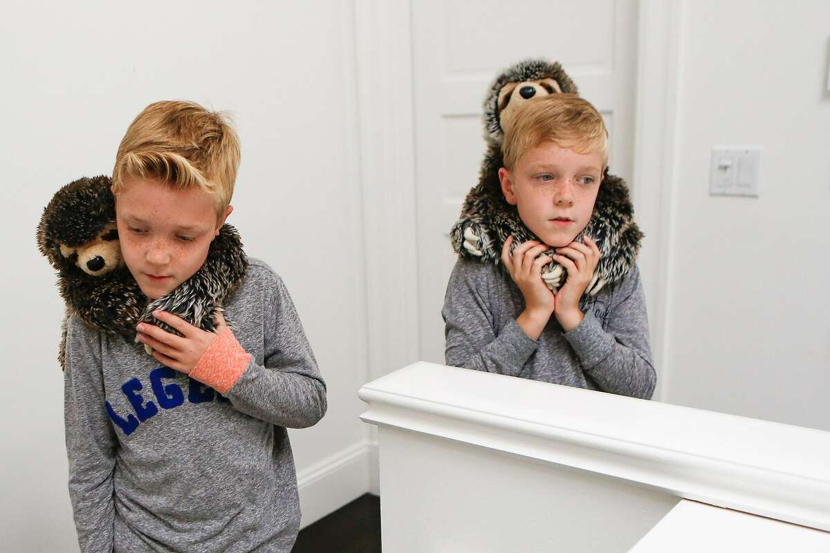 Twin brothers Ethan (left) and Elliott Quanbeck, 10, hold their sloth stuffed animals on their necks in their home on Friday, June 4, 2021 in San Francisco, California.