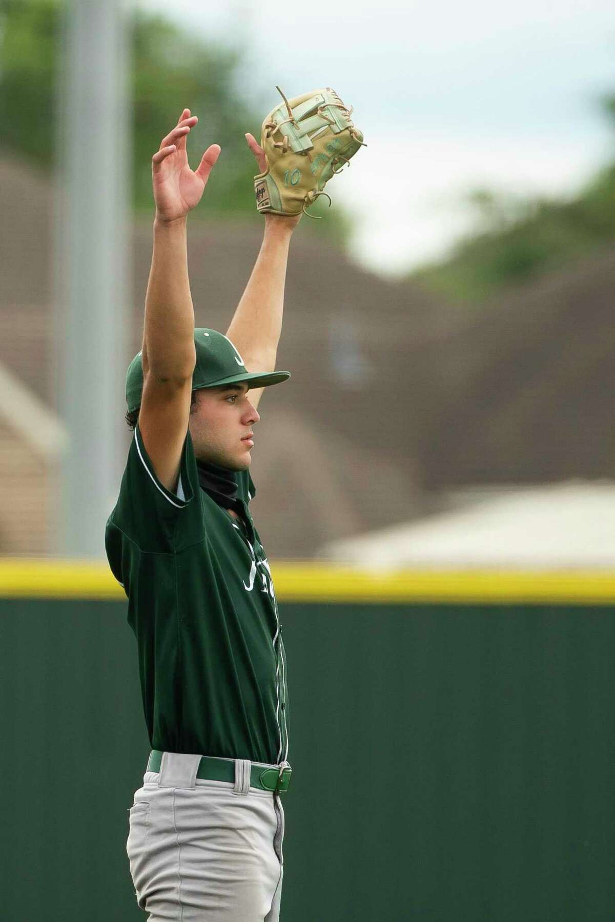 Strake Jesuit pitcher Andrew Leon celebrates after winning his game against Jersey Village to advance to the 6A state tournament, Friday, June 4, 2021, at Cypress Falls High School in Houston.