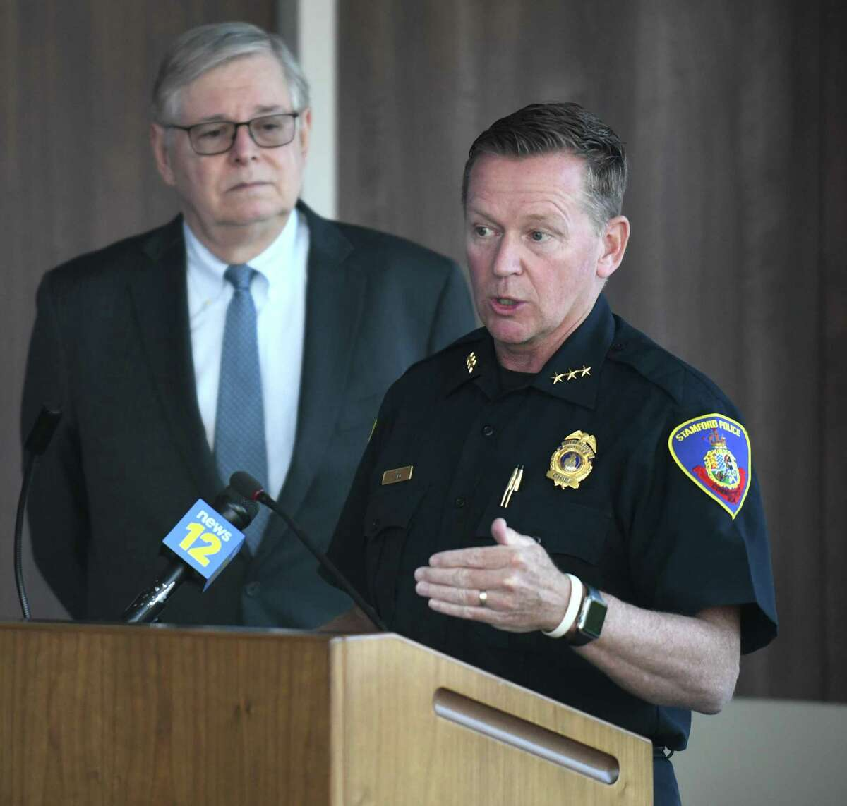 Stamford Police Chief Timothy Shaw, right, speaks beside Mayor David Martin about new mental health initiatives in policing at the Stamford Police Department in Stamford, Conn. Wednesday, May 12, 2021.