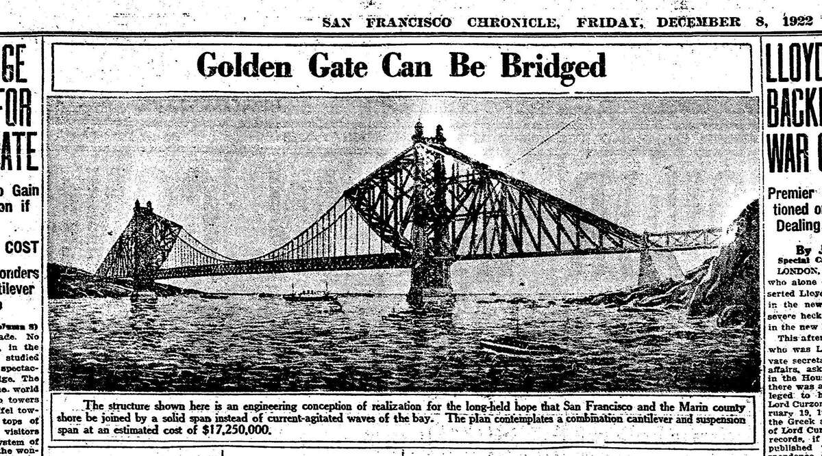 The San Francisco Chronicle ran the first concept drawing of the Golden Gate Bridge in 1922.