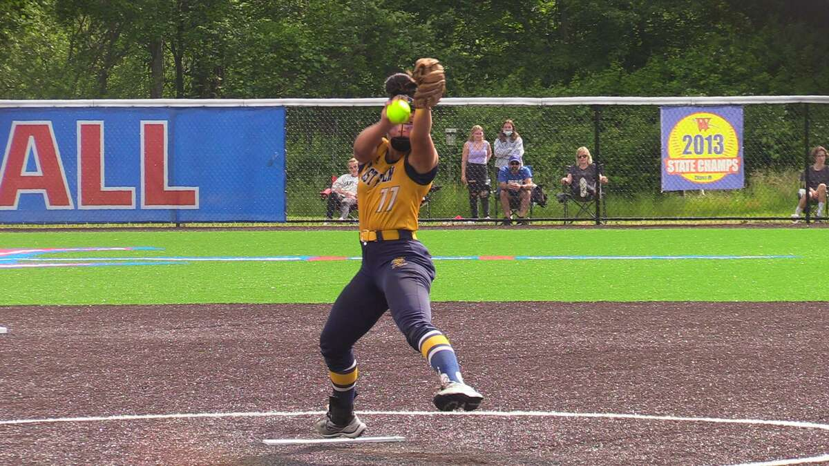 East Haven's Emilee Bishop pitches against Waterford during Friday's Class L quarterfinal.