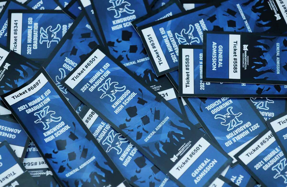 Graduation tickets are seen before ceremony for Kingwood High School at Turner Stadium, Thursday, June 3, 2021, in Humble.