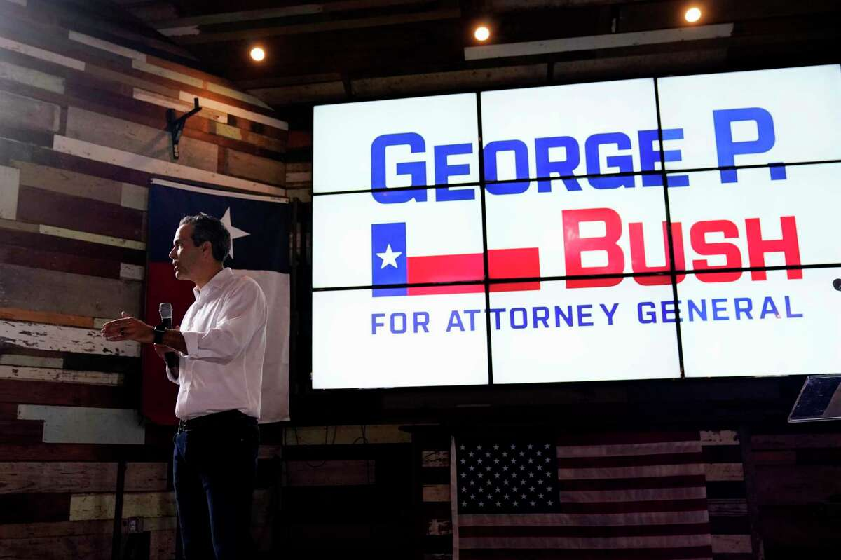 Texas Land Commissioner George P. Bush speaks at a kick-off rally where he announced he will run for Texas Attorney General, Wednesday, June 2, 2021, in Austin, Texas.