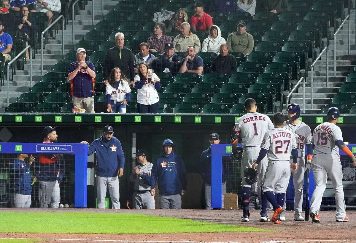 BUFFALO, NY - JUNE 4: Carlos Correa #1 of the Houston Astros heads to the dugout after hitting a two run home run against the Toronto Blue Jays during the eighth inning at Sahlen Field on June 4, 2021 in Buffalo, New York. (Photo by Kevin Hoffman/Getty Images)