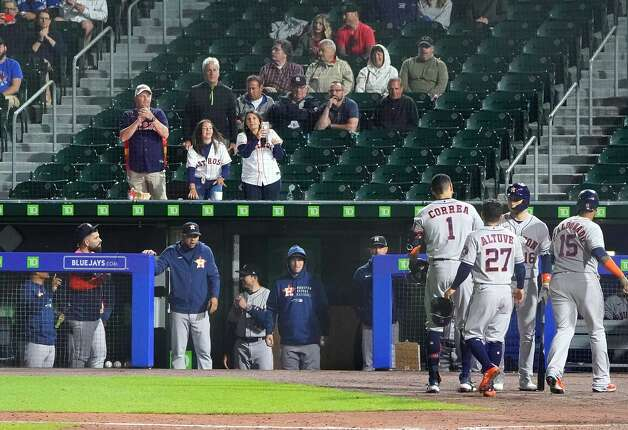 BUFFALO, NY - JUNE 4: Carlos Correa #1 of the Houston Astros heads to the dugout after hitting a two run home run against the Toronto Blue Jays during the eighth inning at Sahlen Field on June 4, 2021 in Buffalo, New York. (Photo by Kevin Hoffman/Getty Images) Photo: Kevin Hoffman/Getty Images / 2021 Getty Images