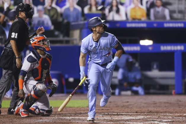 Toronto Blue Jays' Randal Grichuk (15) watches his home run during the seventh inning of the team's baseball game against the Houston Astros in Buffalo, N.Y., Friday, June 4, 2021. (AP Photo/Joshua Bessex) Photo: Joshua Bessex/Associated Press / Copyright 2021 The Associated Press. All rights reserved