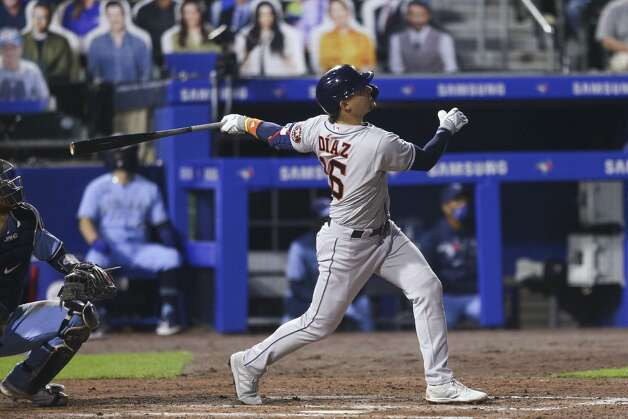 Houston Astros' Aledmys Diaz watches his home run during the seventh inning of the team's baseball game against the Toronto Blue Jays in Buffalo, N.Y., Friday, June 4, 2021. (AP Photo/Joshua Bessex) Photo: Joshua Bessex/Associated Press / Copyright 2021 The Associated Press. All rights reserved