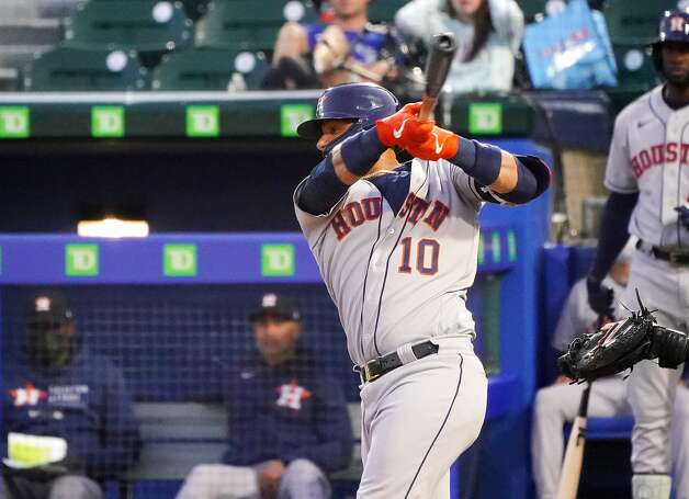 BUFFALO, NY - JUNE 4: Yuli Gurriel #10 of the Houston Astros hits a double during the sixth inning against the Toronto Blue Jays at Sahlen Field on June 4, 2021 in Buffalo, New York. (Photo by Kevin Hoffman/Getty Images) Photo: Kevin Hoffman/Getty Images / 2021 Getty Images