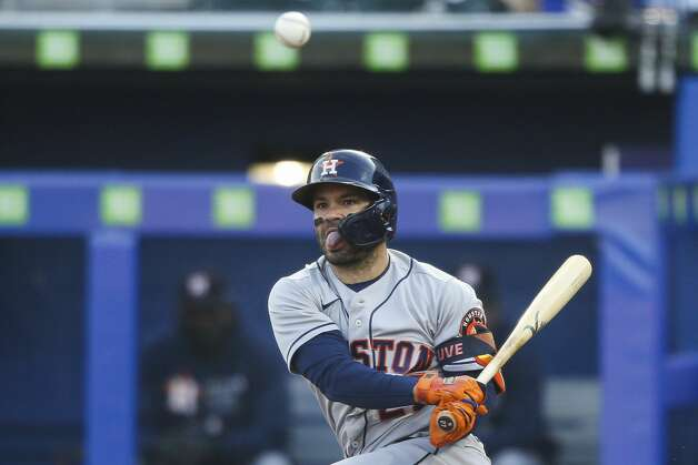 Houston Astros' Jose Altuve watches a foul ball during the third inning of the team's baseball game against the Toronto Blue Jays in Buffalo, N.Y., Friday, June 4, 2021. (AP Photo/Joshua Bessex) Photo: Joshua Bessex/Associated Press / Copyright 2021 The Associated Press. All rights reserved