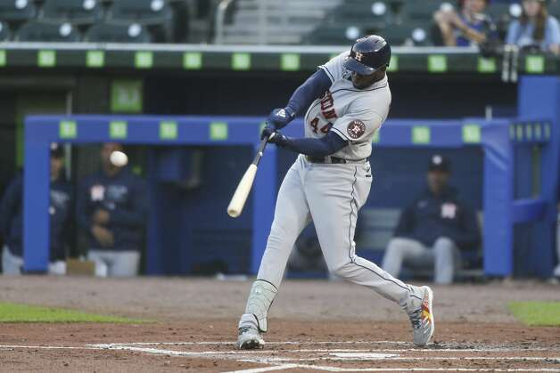 Houston Astros' Yordan Alvarez hits an RBI double to score the fourth inning of a baseball game against the Toronto Blue Jays in Buffalo, N.Y., Friday, June 4, 2021. (AP Photo/Joshua Bessex) Photo: Joshua Bessex/Associated Press / Copyright 2021 The Associated Press. All rights reserved
