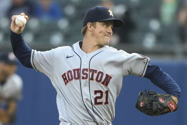 Houston Astros starting pitcher Zack Greinke throws during the second inning of the team's baseball game against the Toronto Blue Jays in Buffalo, N.Y., Friday, June 4, 2021. (AP Photo/Joshua Bessex) Photo: Joshua Bessex/Associated Press / Copyright 2021 The Associated Press. All rights reserved