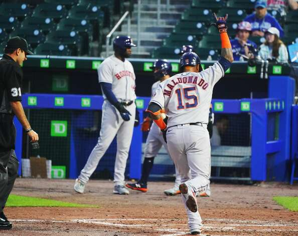 BUFFALO, NY - JUNE 4: Martin Maldonado #15 of the Houston Astros runs the bases after hitting a grand slam home run during the sixth inning against the Toronto Blue Jays at Sahlen Field on June 4, 2021 in Buffalo, New York. (Photo by Kevin Hoffman/Getty Images) Photo: Kevin Hoffman/Getty Images / 2021 Getty Images