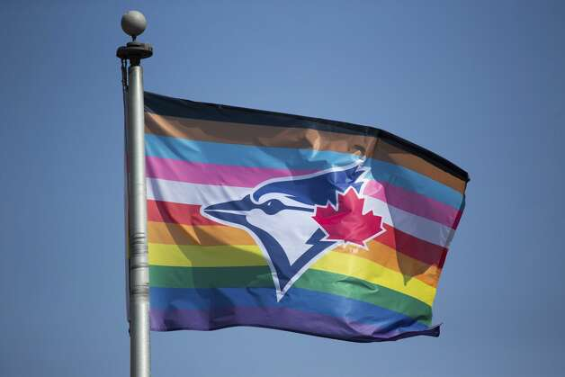 A Blue Jays Pride flag waves outside Sahlen Field before a baseball game between the Toronto Blue Jays and Houston Astros in Buffalo, N.Y., Friday, June 4, 2021. (AP Photo/Joshua Bessex) Photo: Joshua Bessex/Associated Press / Copyright 2021 The Associated Press. All rights reserved