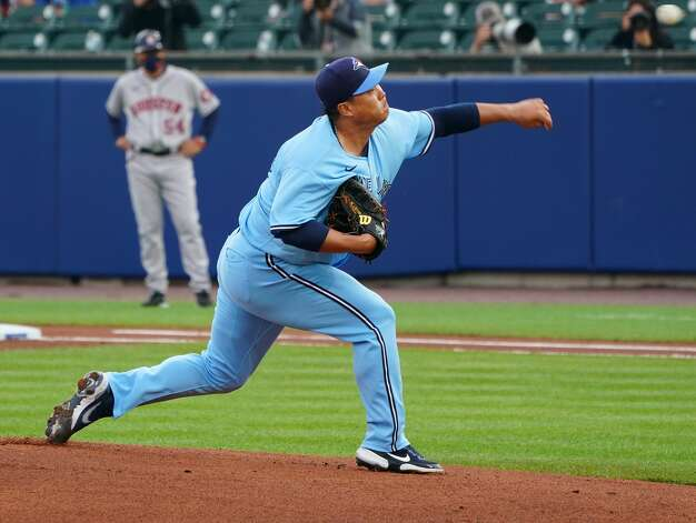 BUFFALO, NY - JUNE 4: Starting pitcher Hyun Jin Ryu #99 of the Toronto Blue Jays pitches during the first inning against the Houston Astros at Sahlen Field on June 4, 2021 in Buffalo, New York. (Photo by Kevin Hoffman/Getty Images) Photo: Kevin Hoffman/Getty Images / 2021 Getty Images