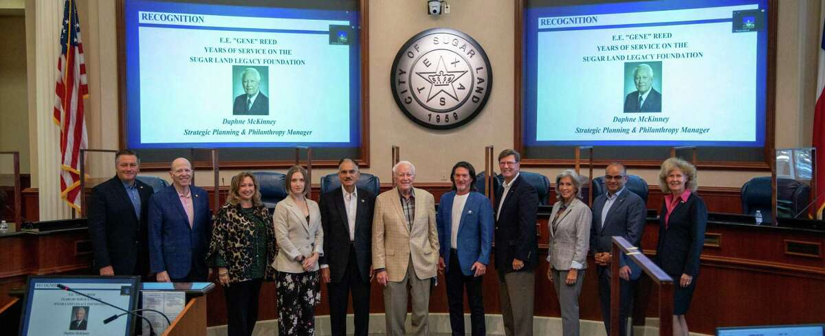 The Sugar Land City Council recognized and honored Eugene Reed, former president and board member of the Sugar Land Legacy Foundation. Reed was the first president of the SLLF, serving from 2010 to 2021.