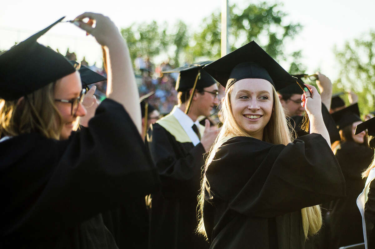 The Bullock Creek High School Class of 2021 celebrates with a commencement ceremony Friday, June 4, 2021 at the school in Midland. (Katy Kildee/kkildee@mdn.net)