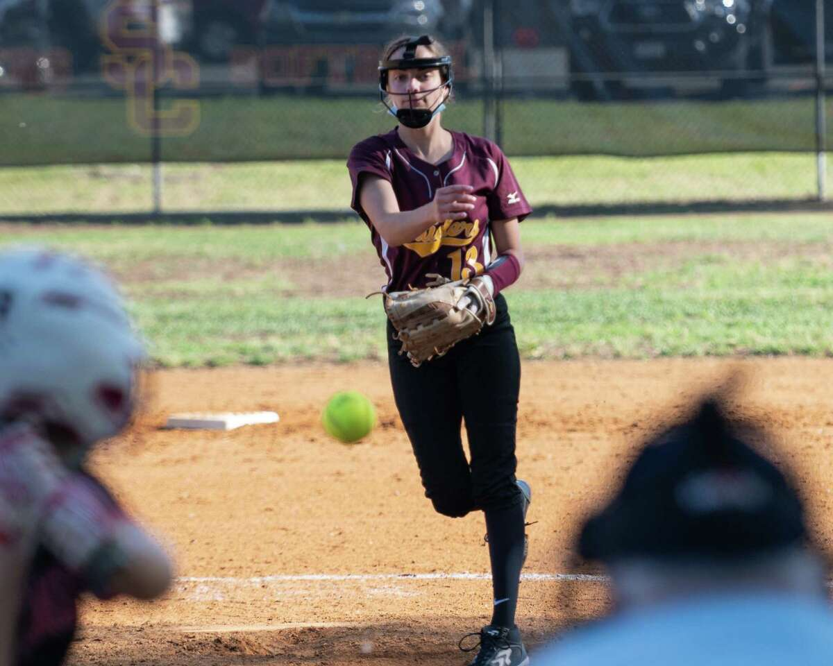 Colonie pitcher Carly Gemmett during a Suburban Council matchup against Bethlehem at Colonie High on Friday, June 4, 2021 (Jim Franco/Special to the Times Union)