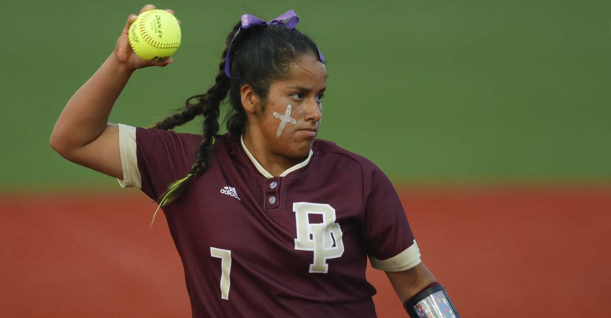 Deer Park starting pitcher Hannah Benavides (7) throws out Jordyn Holland #18 of Flower Mound in the third inning of a Class 6A state semifinal game, Friday, June 4, 2021, in Leander.