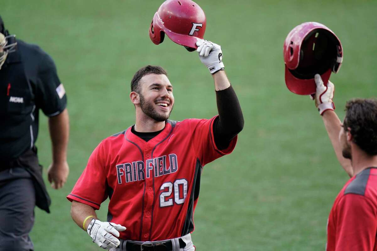 Fairfield's Mike Handal (20) celebrates his solo home run to lead off the game against Arizona State on Friday in the Austin Regional in Austin, Texas.