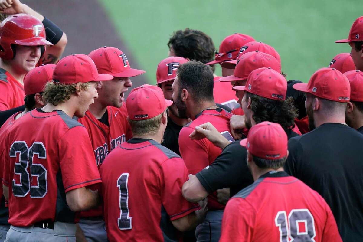Fairfield's Mike Handal, center, celebrates his solo home run against Arizona State with teammates during the first inning of an NCAA college baseball regional tournament game Friday, June 4, 2021, in Austin, Texas. (AP Photo/Eric Gay)